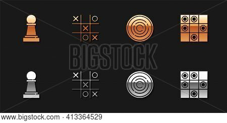 Set Chess, Tic Tac Toe Game, Checker Chips And Board Of Checkers Icon. Vector