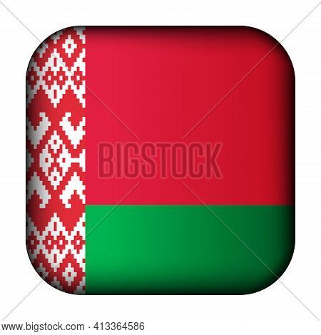 Glass Light Ball With Flag Of Belarus. Squared Template Icon. Belarusian National Symbol. Glossy Rea