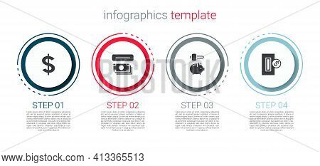 Set Dollar Symbol, Atm And Money, Piggy Bank Hammer And Inserting Coin. Business Infographic Templat