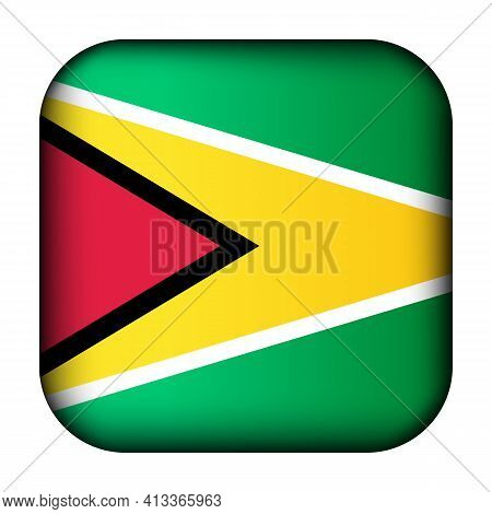 Glass Light Ball With Flag Of Guyana. Squared Template Icon. National Symbol. Glossy Realistic Cube,