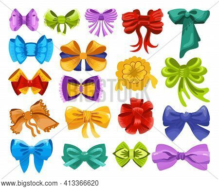 Collection Of Gift Bows Colorful Flat Vector Illustration. Color Knots For Present Elements Template