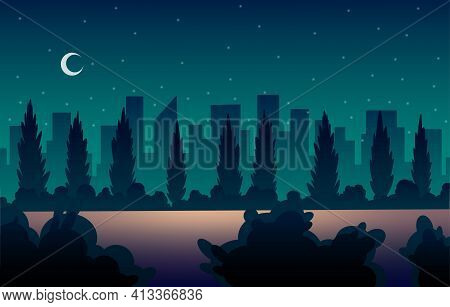 Place For Car Street Cinema. Open Air Parking At Night. Darkness On Starry Sky Background. Backdrop