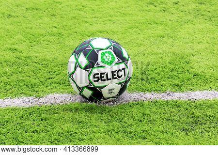 Odessa, Ukraine - Circa 2021: Official Soccer Ball On Artificial Green Grass On Professional Soccer