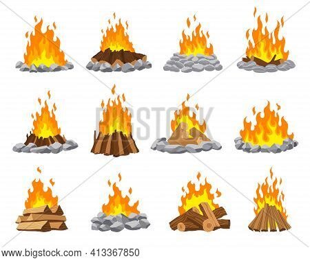 Fireplace Campfire Different Types. Burning Wood Collection, Travel And Adventure Symbol. Vector Bon