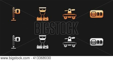 Set Cafe And Restaurant Location, Train Conductor, Draisine Handcar And Electrical Outlet Icon. Vect