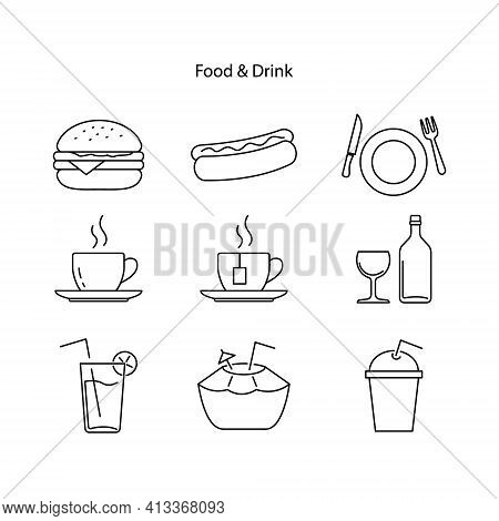Collection Of Vector Illustrations Of Food Icons. Outlined Food And Drink Icon Set, Nutritional Valu