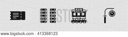Set Train Ticket, Railway, Railroad Track, Restaurant Train And Station Clock Icon. Vector