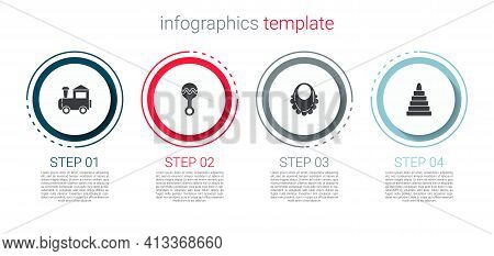 Set Toy Train, Rattle Baby Toy, Baby Bib And Pyramid. Business Infographic Template. Vector