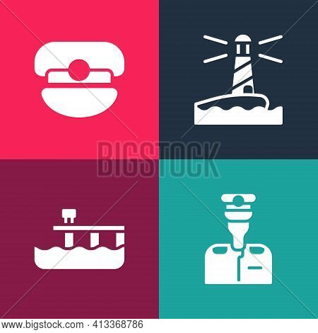 Set Pop Art Captain Of Ship, Beach Pier Dock, Lighthouse And Hat Icon. Vector