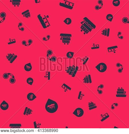 Set Location With Cruise Ship, Beach Pier Dock, Binoculars And Cruise On Seamless Pattern. Vector