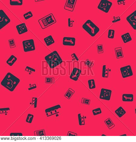Set Beach Pier Dock, Cruise Ticket, Route Location And Sunbed And Umbrella On Seamless Pattern. Vect