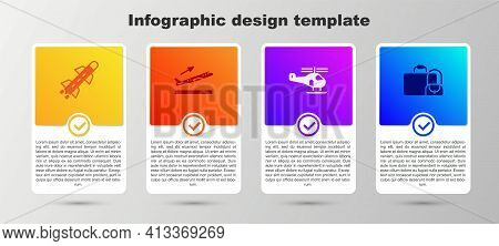 Set Rocket, Plane Takeoff, Helicopter And Suitcase. Business Infographic Template. Vector