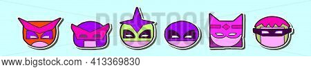 Set Of Super Hero Head Cartoon Icon Design Template With Various Models. Modern Vector Illustration