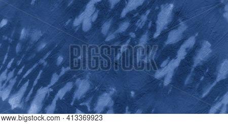 Indigo Shibori Pattern. Maritime Paint Textile Design. Blue Hand Drawn Strokes. White Abstract Ethni