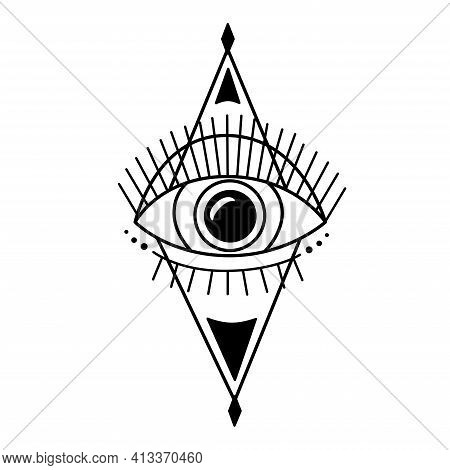 Evil Eye. Eye Of Providence. Magic Graphic Witchcraft Symbol. Magical Esoteric Religion Sacred Geome