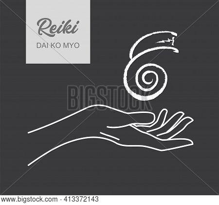 Reiki Symbol. A Sacred Sign Dai Ko Mio. A Hand Holds Reiki Dai Ko Mio Sign On A Black Background. Al