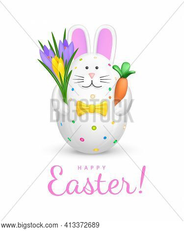 Happy Easter Greeting Card. Cute Bunny Shaped Easter Egg. Figurine Of White Rabbit With Pink Ears, M