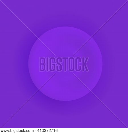 Flat Matte Purple Dinner Plate Closeup On A Violet Background. Isolated Object With Shadow. Top View