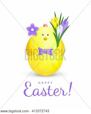 Cute Easter Decoration In The Form Of A Yellow Figurine Of A Chicken With A Purple Bow Tie Holding F