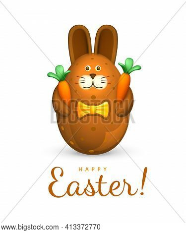 Happy Easter Greeting Card. Easter Egg In The Form Of A Cute Chocolate Bunny. The Figurine Of A Brow