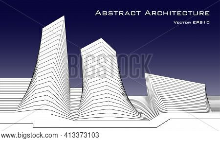 Architectural Background. Abstract Architecture. Black And White Vector Illustration.