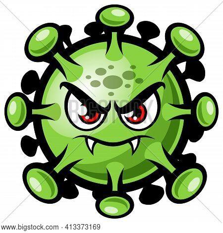 Cartoon Covid-19 Coronavirus. Funny Angry Corona Virus Character Vector Illustration Isolated On Whi