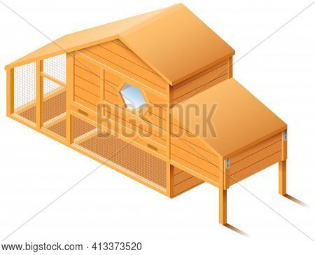 Chicken House Coop 3d Isometric Illustration Isolated On White Background