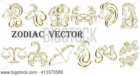 Vector Graphic Illustration Of Golden Zodiac Signs. All Zodiac Signs In Line Art Concept: Aries; Tau