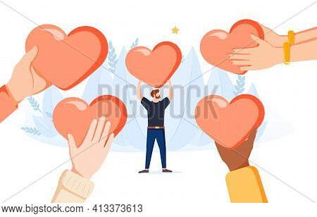 Generosity As Donation Support Sharing Tiny Person Concept. Heart Love As Help And Assistance Symbol