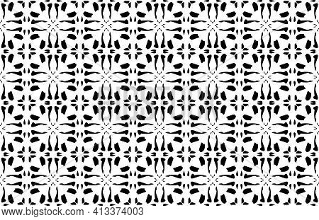 Vector Seamless Background Made Of In Black And White.  Backgrounds, Decoration For Your Design, Cer
