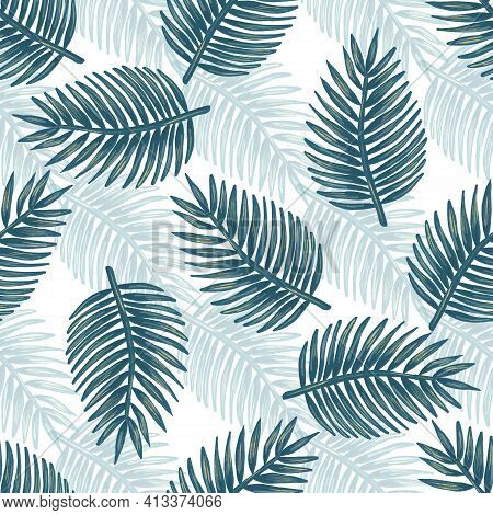 Tropical Leaves Surface Seamless Pattern Design. Rainforest Backgroud For Textile, Fabric Print