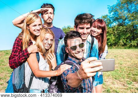 People Group Taking Selfie At Trekking Excursion - Happy Friendship And Freedom Concept With Young M