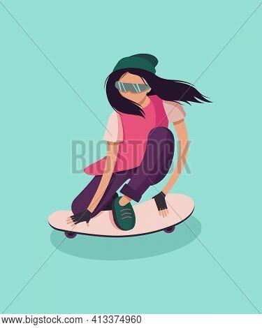 The Girl Skateboarding Posse. Girl On Skateboard Sketch Vector Illustration Isolated. Urban Man Skat