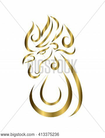 Gold Line Art Of Rooster Head. Good Use For Symbol, Mascot, Icon, Avatar, Tattoo, T Shirt Design, Lo