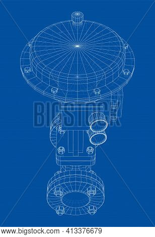 Valve With Automatic Electro-actuated. Vector Rendering Of 3d. Wire-frame Style