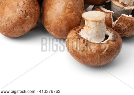 Fresh Champignons Isolated On A White Background. Brown Wet Mushrooms With Copy Space. Bunch Of Raw
