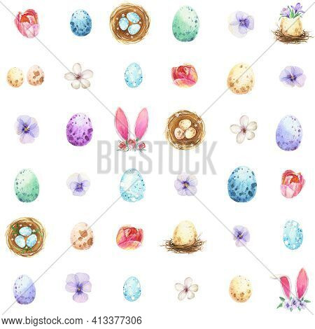 Watercolor Easter Seamless Pattern. Spring Eggs Bunny Ears Bird Nest