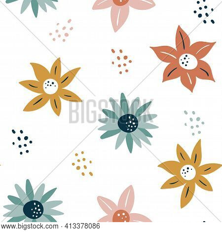 Abstract Seamless Pattern With Flowers And Leaves, Hand Drawn Background. Collection Floral Pattern.