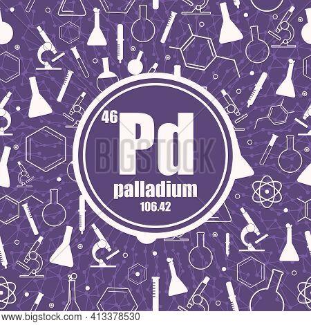 Palladium Chemical Element. Concept Of Periodic Table.