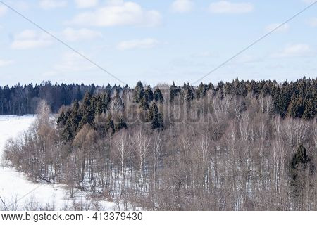 Winter Nature Forest Sunset Landscape. Snowy Winter Forest Sunset Sky. Winter Sunset Forest View. Wi