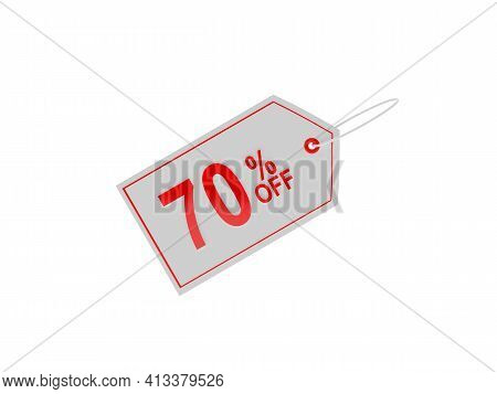 White Price Tag With 70 Percent Discount Sign. 3d Illustration