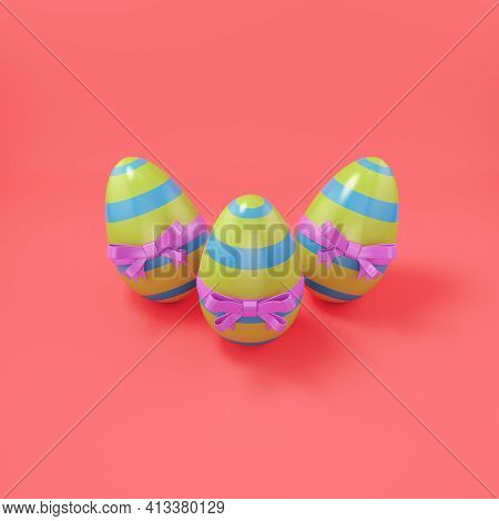 Easter Eggs With Bow On Bright Red Background. 3d Render