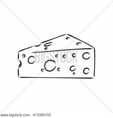 Hand Drawn Piece Of Swiss Cheese, Sketch Style Vector Illustration Isolated On White Background. Rea