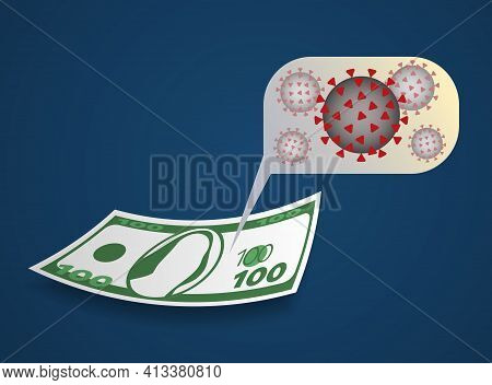 Concept Of Paper Money Contaminated By Coronavirus On Blue Gradient Background, Concept Of Paper Mon