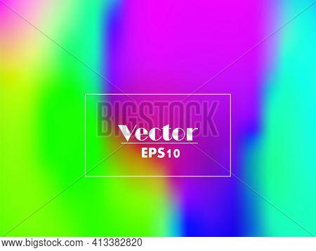 Fluid Iridescent Multicolored Background. Vector Illustration Of Iridescent Rainbow Fluids. Holograp