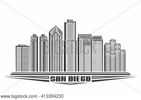 Vector Illustration Of San Diego, Monochrome Horizontal Poster With Outline Design Of Famous America