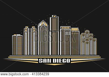 Vector Illustration Of San Diego City, Horizontal Poster With Outline Design Illuminated American Ci