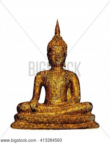 Golden Buddha Statue Antique Isolated On White, Gold Antique Buddha Statue In Religion Buddhism