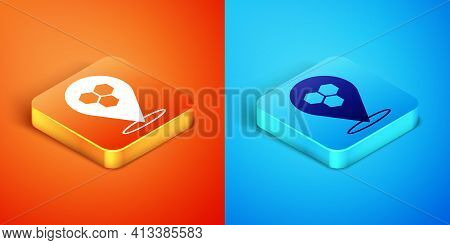 Isometric Honeycomb Bee Location Map Pin Pointer Icon Isolated On Orange And Blue Background. Farm A