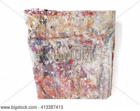 Watercolor Stained Fabric Close Up. Aerial View Of Colorful Painter's Cloth With Stains Of Paints Is